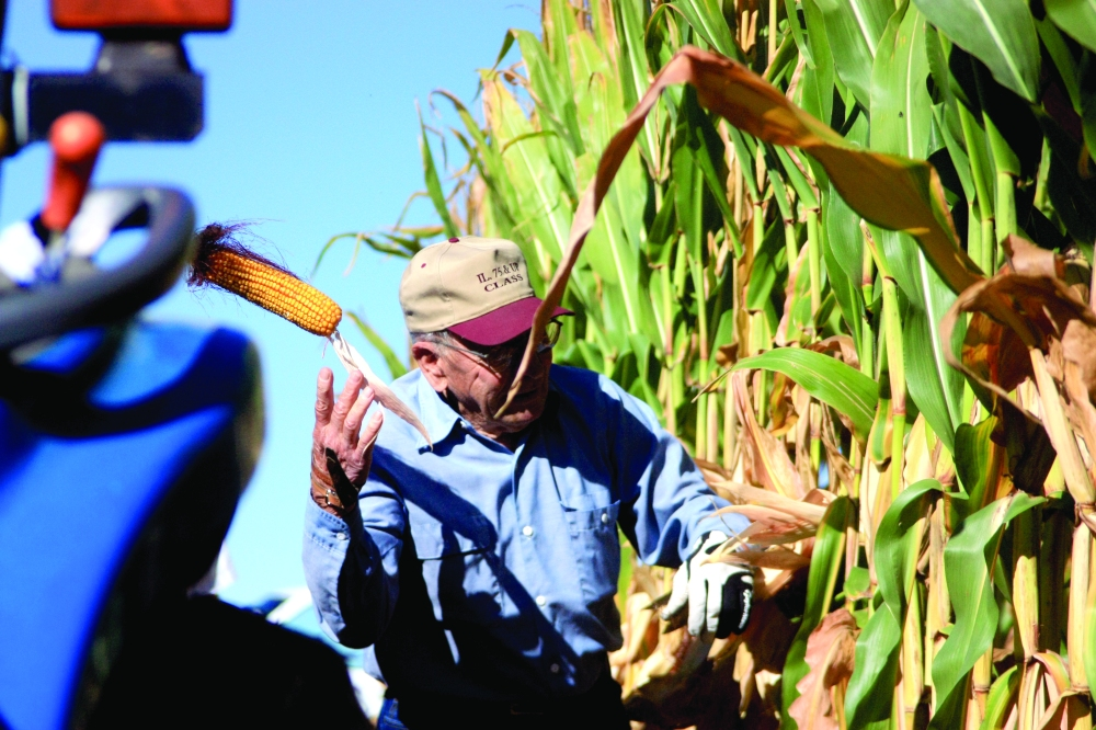 "Harlan Jacobson, 84, of rural Roseville tosses an ear of corn into a wagon behind him during the men's 75 and up category at the Illinois Corn Husking Contest on Sunday, Sept. 29, 2013. The 33rd annual installment of the contest was held on his farm south of Roseville off U.S. Route 67. ""You pick the corn by hand like the old-timers did years ago before the combines,"" Jacobson said. ""That's all I can tell you. It takes a lot of practice."""